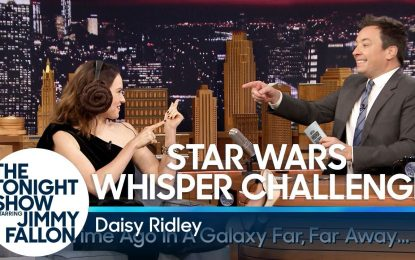Daisy Ridley (Rey) de Star Wars The Last Jedi Jugando Whisper Challenge Very Funny (Video)
